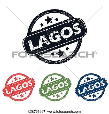 Clip Art of Round Lagos city stamp set k28761997.