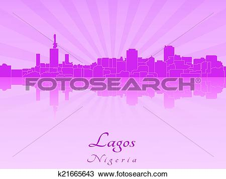 Clipart of Lagos skyline in purple radiant orchid k21665643.