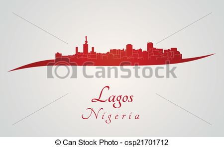 Vector Clip Art of Lagos skyline in red and gray background in.