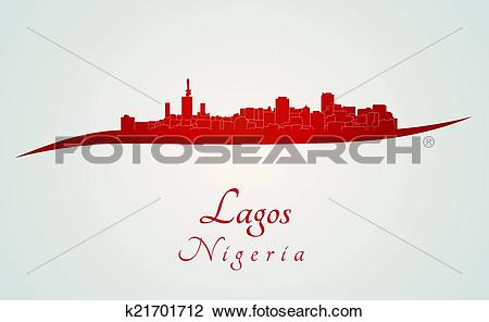 Clipart of Lagos skyline in red k21701712.