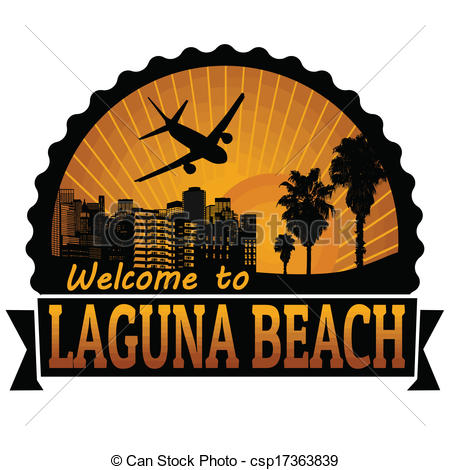 Vectors of Laguna Beach travel label or stamp.