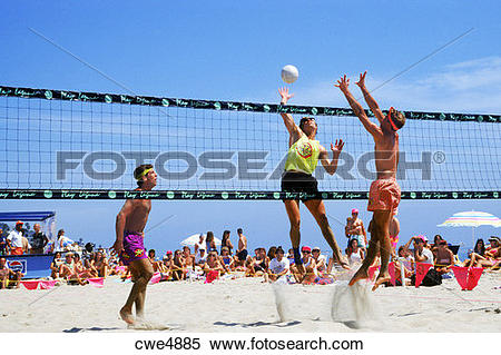 Stock Image of Men's annual beach volleyball tournament in Laguna.