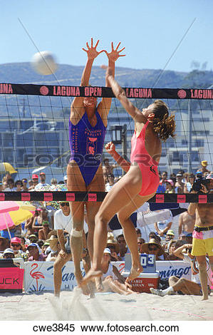 Stock Image of Women's annual beach volleyball tournament in.