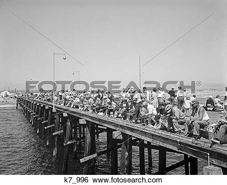 Stock Images of 1940S People Fishing Off Laguna Beach Pier Laguna.