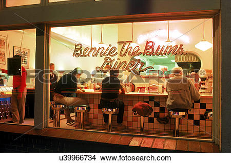 "Stock Photo of ""Bennie The Bums Diner at night in Laguna Beach."