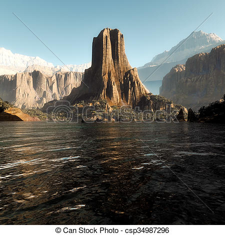 Stock Illustration of Beautiful Laguna in Patagonia, Argentina.