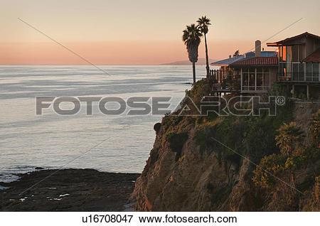 Picture of USA, California, Laguna Beach, house on cliff u16708047.