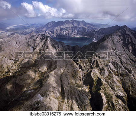 """Stock Image of """"Mount Pinatubo, crater lake, lahar fields, aerial."""