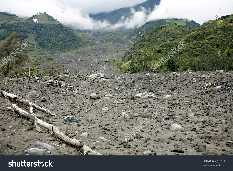 Lahar Mudflow On Slope Tunguragua Volcano Stock Photo 8542513.
