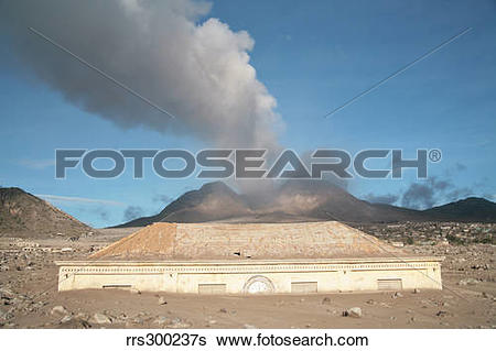 Stock Images of Plymouth Courthouse buried in lahar deposits from.