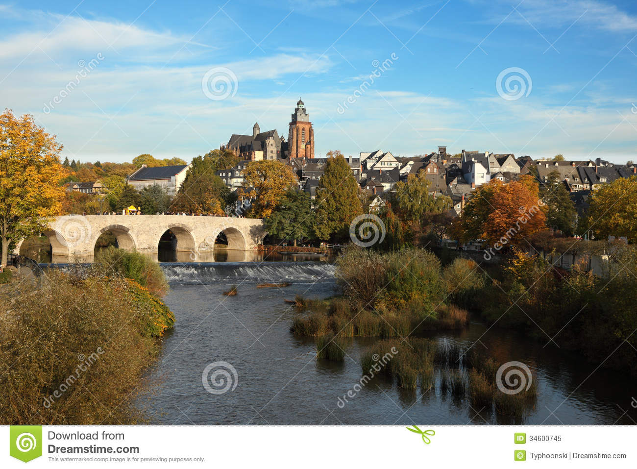 Lahn River In Wetzlar, Germany Royalty Free Stock Photo.