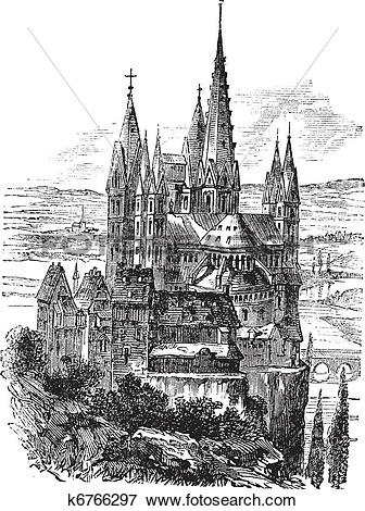 Clip Art of Cathedral of St. George, Limburg.