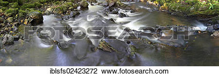 Stock Photo of Panorama, mountain creek in the Mittelgebirge.