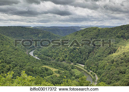 "Stock Photo of ""Lahnschleife, bend of the Lahn River, Lahn."