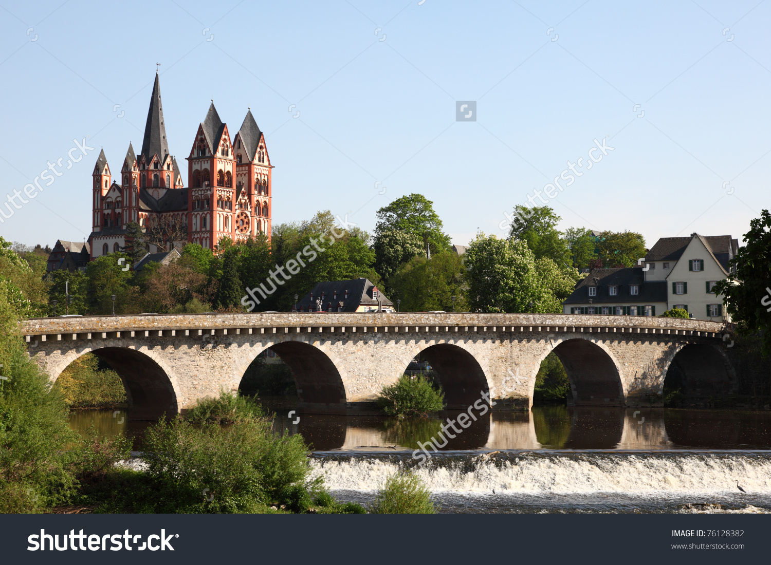 The Old Lahn River Bridge And The Cathedral In Limburg (Limburger.