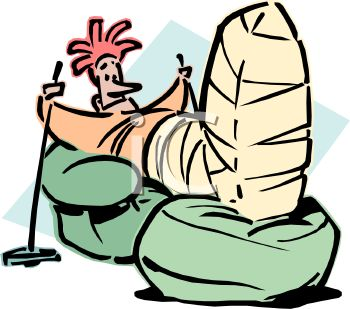 Royalty Free Clip Art Image: Skier Laid Up with a Broken Leg.