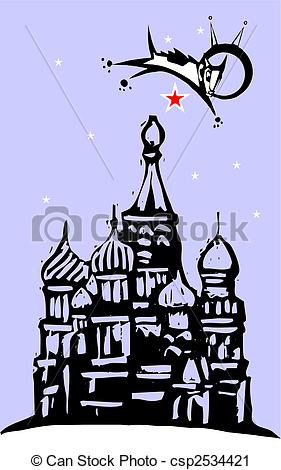 Vector Clip Art of Laika over Red Square.