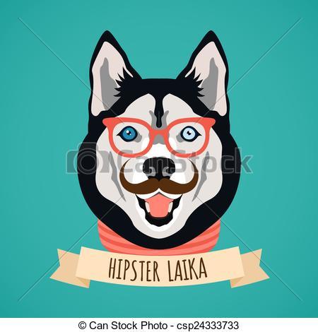 Vectors of Hipster dog portrait.