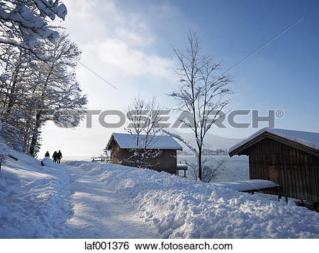 "Stock Images of ""Germany, Kochel am See, hiker on snow."