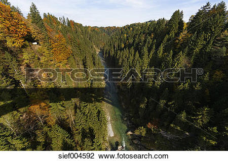 Stock Photo of Germany, Upper Bavaria, Ammer canyon with shadow of.