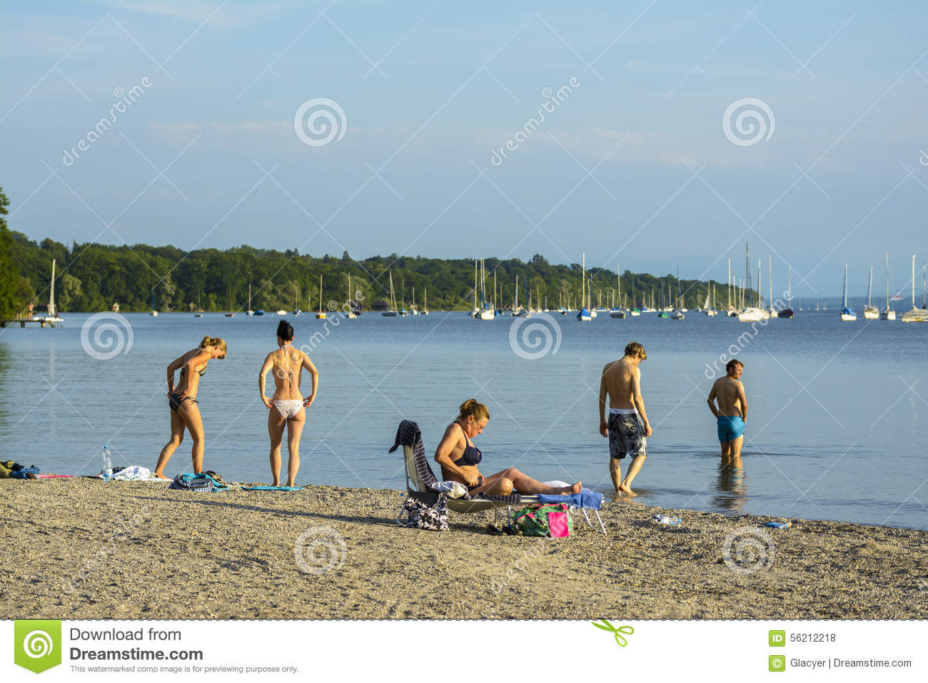 Ammersee Lake Beach Editorial Stock Photo.