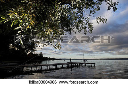 "Stock Images of ""Jetty at Ammersee Lake or Lake Ammer, Stegen."
