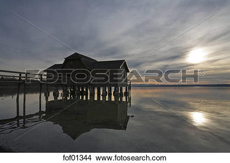 Stock Photo of Germany, Bavaria, Inning, Lake Ammersee, Boathouse.