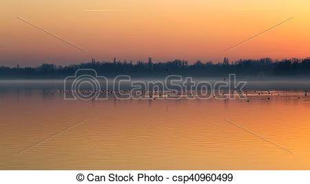 Stock Photographs of Sunset over the lake Balaton of Hungary with.