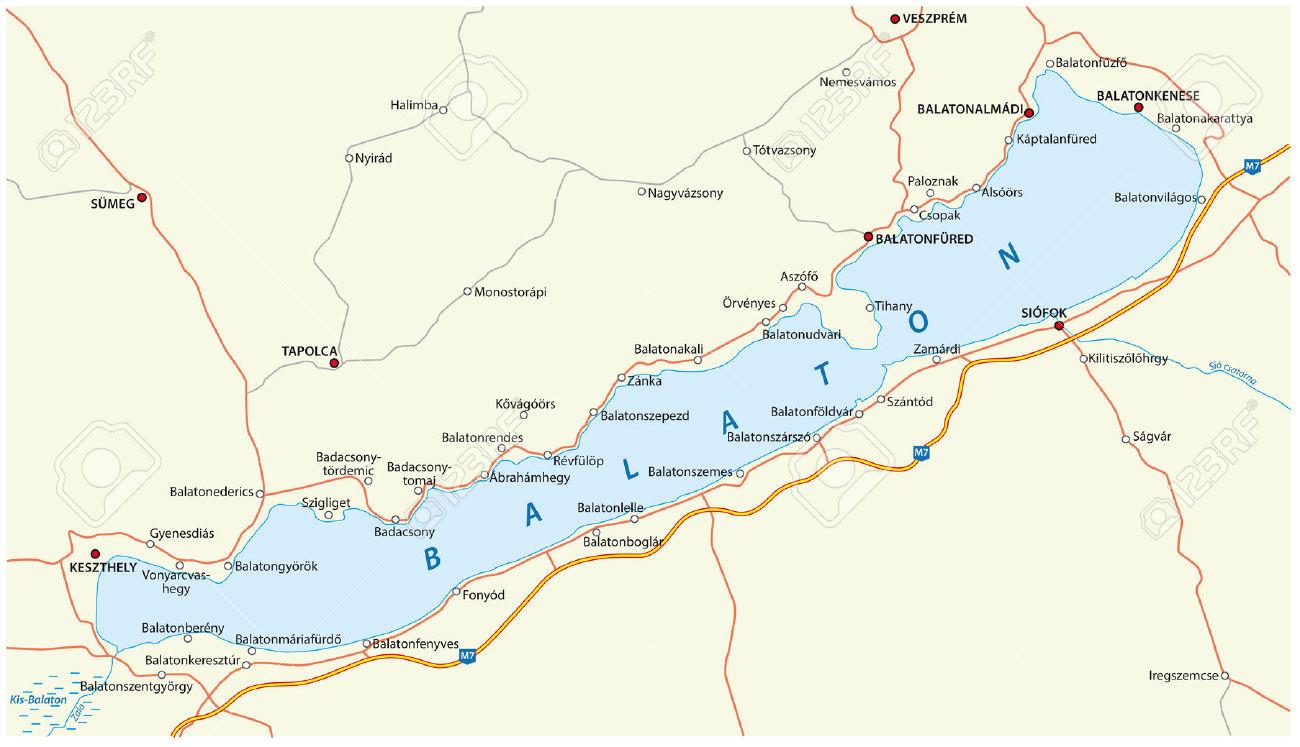 Lake Balaton Map Royalty Free Cliparts, Vectors, And Stock.
