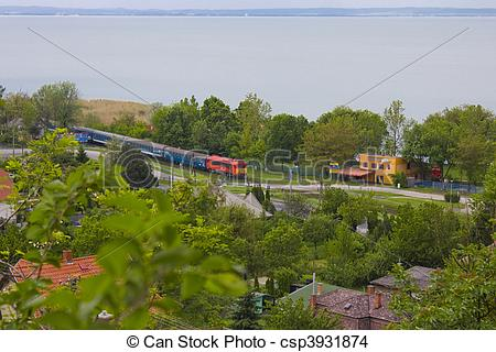 Stock Photo of Train at lake Balaton.
