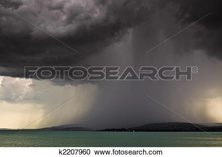Stock Photography of storm over the lake Balaton k2207960.