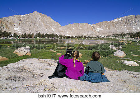 Picture of Boy, girl and dog sitting together on a rock in the.