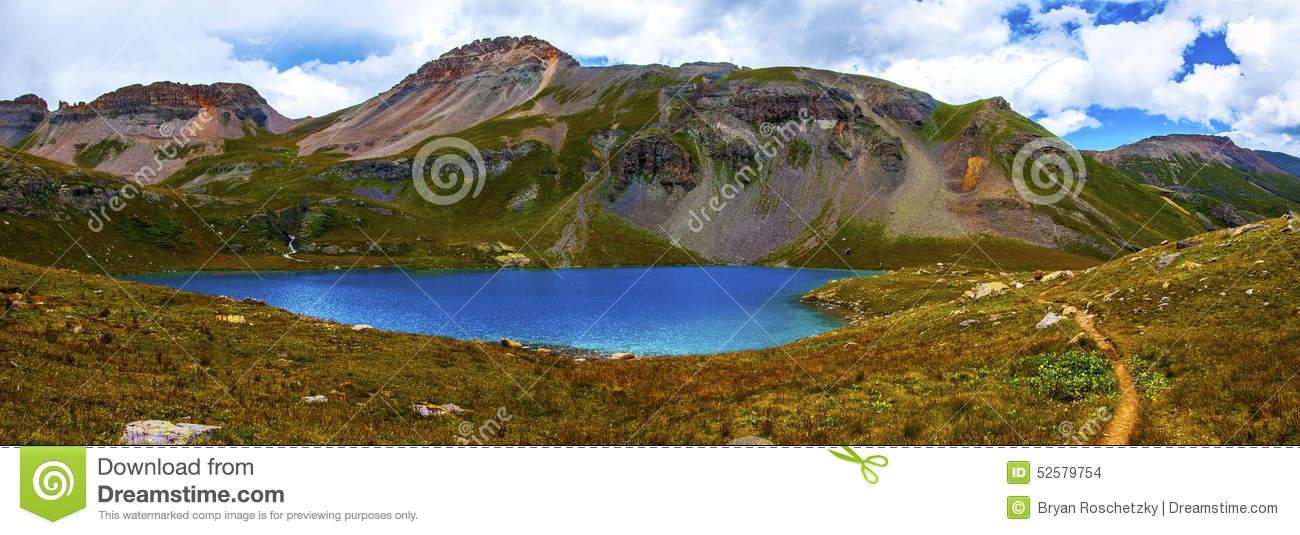 Panoramic Landscape Ice Lake Basin Southwest Colorado Stock Photo.