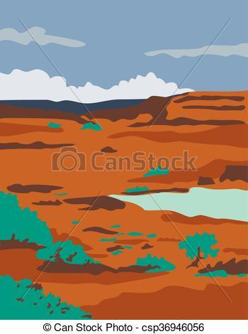 Clipart Vector of Columbian Basin Desert Scene WPA.