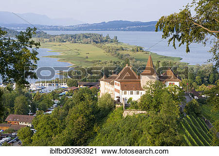 """Stock Photography of """"Erlach Castle, located on a hill and."""