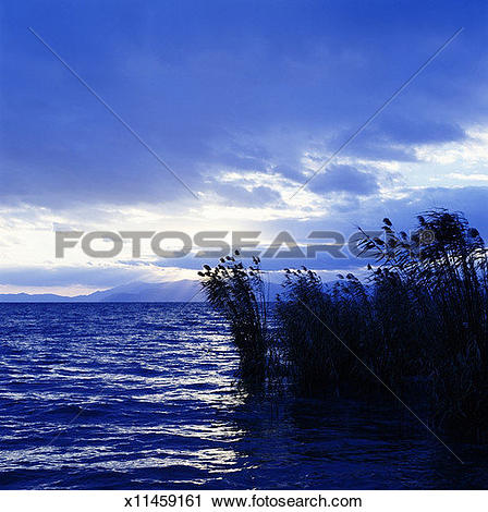 Stock Photography of Japan, Shiga Prefecture, Lake Biwa, evening.