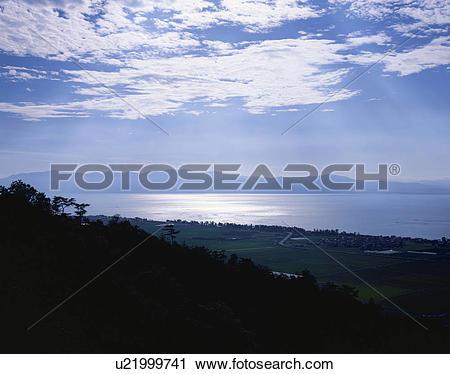 Stock Photography of Lake Biwa seen from Mt. Kojin, Shiga.