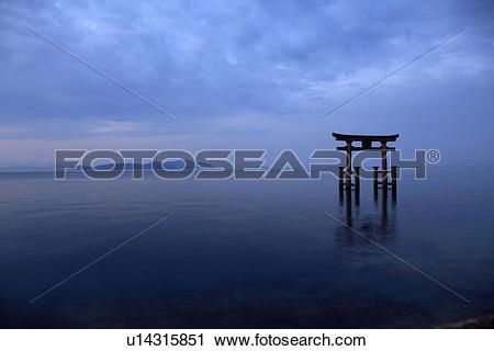 Stock Photography of Torii gate at lake biwa, Shiga Prefecture.