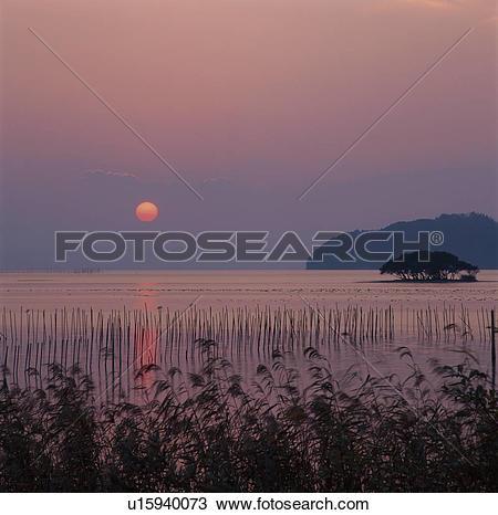 Stock Photo of Sunset Over Lake Biwa u15940073.