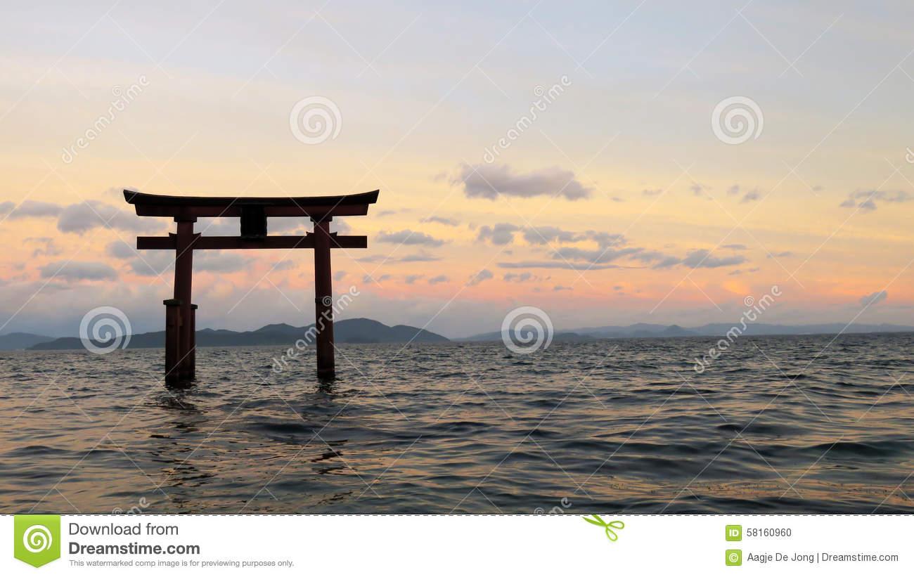 Shirahige Tori In Lake Biwa In Japan Stock Photo.