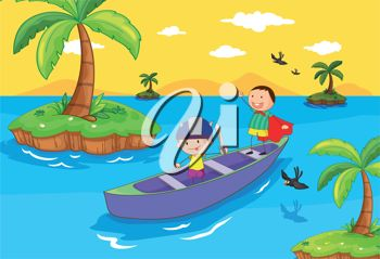 Illustration of a Boy Rowing a Boat.