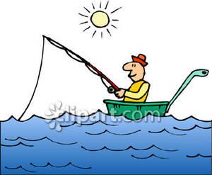 Cartoon Lake Boat Clipart.