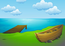 Boat on lake clipart.