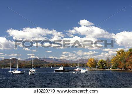Stock Photograph of lake champlain charlotte vermont fall foliage.