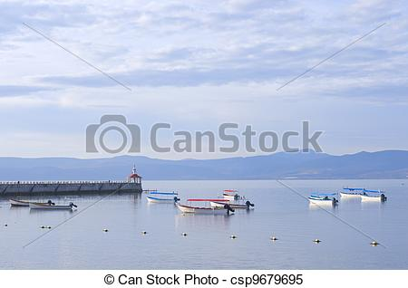 Stock Images of Lake Chapala Skiffs and Pier.