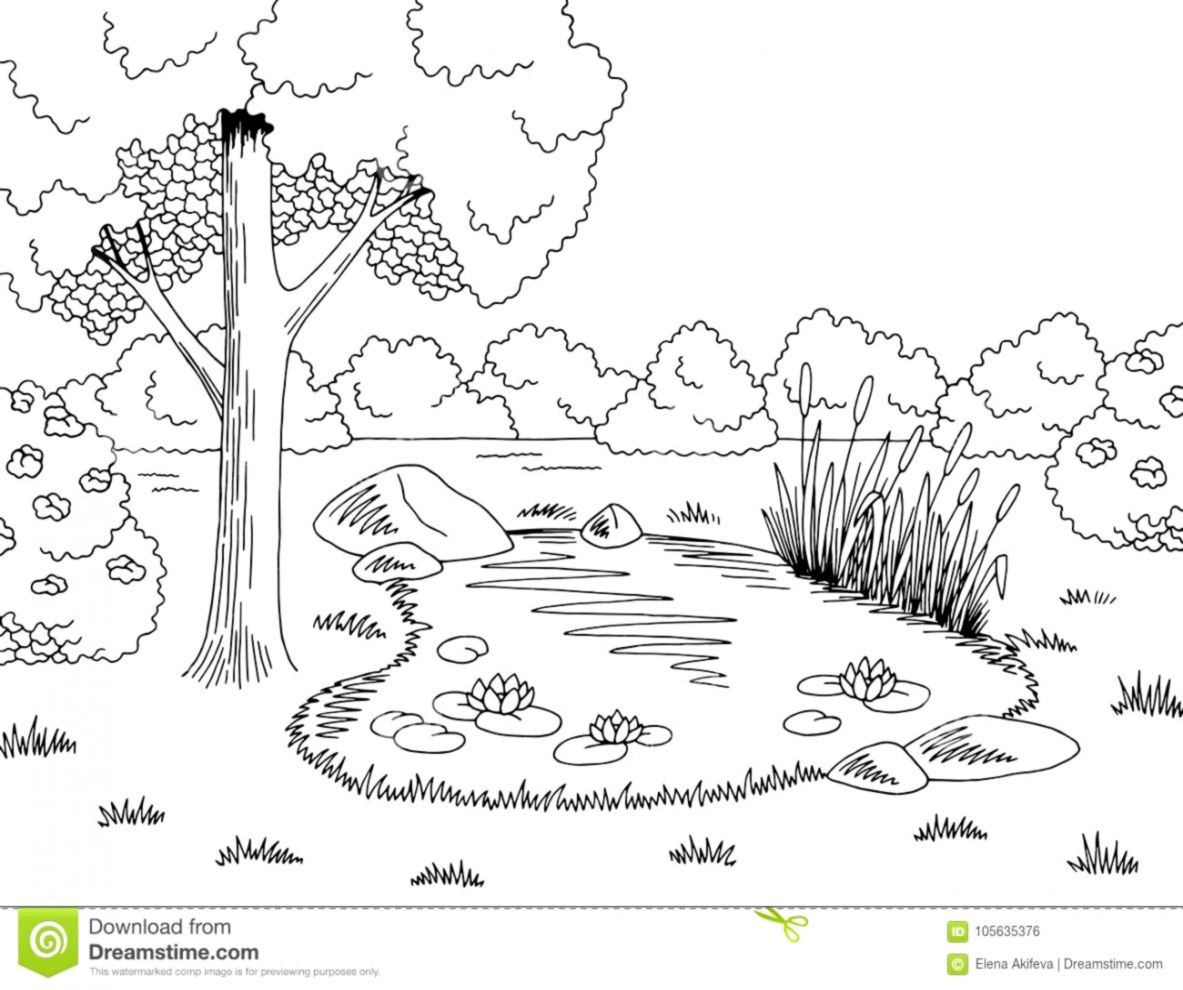 Lake Clipart Black And White.