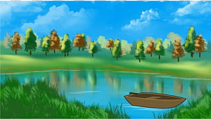 Forest , Grass Lake and Trees , river and trees cartoon.
