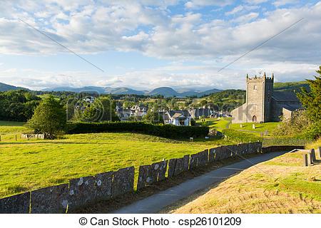 Stock Photography of Beautiful Lake District village uk.