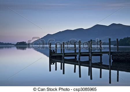 Stock Images of Landing stage at dawn on Derwent Water, Lake.