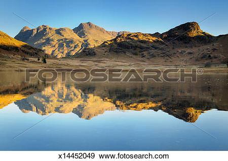 Stock Photograph of Blea Tarn Sunrise, Langdale Pikes, Lake.
